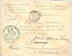 FRANCE -==- Juge De Paix Du Canton Ouest D´ ORANGE -- Service De La Justice Pour VALS ( Ardèche ) 3 AOUT 1885 - France