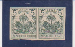 Hati, Scott # 41, Imperf Pair,Palm Tree , Coat Of Arms, Issued 1896 MLH Catalogue $9.00 - Haiti