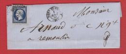 Lettre   //   De Pont St Esprit  //  Pour Remoulin  //  1 Août 1856  //  20 Cts Bleu Foncé - Storia Postale