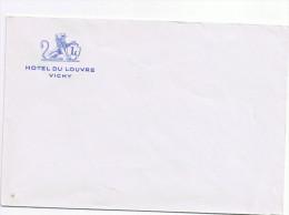 03 VICHY HOTEL DU LOUVRE Enveloppe 14,5x9,8cm Bleu Pale Gravure Bleu Foncé ANNEES 30 Pre WW2 - Sports & Tourisme