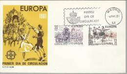 ESPAÑA SPD FDC EUROPA 1981 MUSICA ARTE BAILE JOTA ROMERIA DEL ROCIO - Fiestas