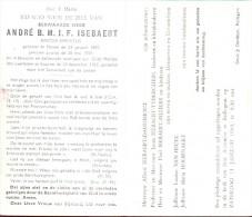 Doodsprentje Oud Pastoor Andre Isebaert - Menen 1880 - Kuurne 1963 - Obituary Notices