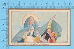 """Gouppy (GBB """" PRIEZ POUR NOUS PAUVRES PECHEURS """" Cadre Doré ) Santino Holy Card  Image Pieuse 2 Scans - Images Religieuses"""