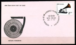 INDIEN -FDC   Mi.Nr.   727 -     100. Jahrestag Der Ersten Tonaufnahme - FDC