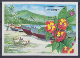 St. Vincent  Wild Sage Flowers / Ships / Chickens M/s ** Mnh (23761A) - St.Vincent (1979-...)