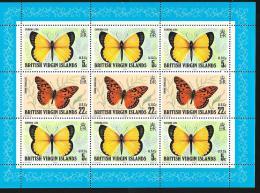 BRITISH VIRGIN ISLANDS - Scott #343a Butterflies / Mint NH Souvenir Sheet (ss180) - British Virgin Islands