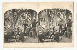 CPA Vue Stéréoscopique - Etats-Unis - Repos Dans La Forêt - Jeux De Cartes - Cartes à Jouer