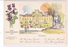 CARD PUBBLICITA'PROFUMO VERA VIOLETTA DI PARMA BORSARI PARMA GIARDINO DUCALE FIRMATA 2 SCANNER  -FG-N-2 0882 -24028-027 - Advertising