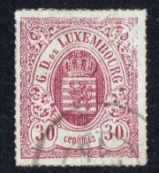 1865  Armoiries 30 Centimes  Carmin-violet   Percé En Lignes Colorées  Yvert 21  Oblitéré - 1859-1880 Coat Of Arms
