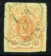 1865  Armoiries 40 Centimes  Rouge-orange   Percé En Lignes Colorées  Yvert 23  Oblitéré - 1859-1880 Coat Of Arms
