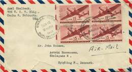 1946  Letter To Denmark  Sc C28, Block Of 4 - Air Mail