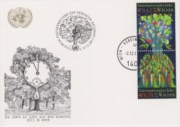 United Nations Show Card 2011 ´Numiphil´ - December 2011 - Mi 736-737 International Year Of Forests - Centre International De Vienne