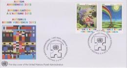 United Nations FDC Mi 746-747 Autism Awareness - Flowers - Sun - Rainbow - 2012 - FDC