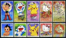 JAPAN 2011 - Mi. 5516-5525 O, Astro Boy   Doraemon   Pokemon   Hello Kitty   Scrolls Of Frolicking Animals - Gebraucht