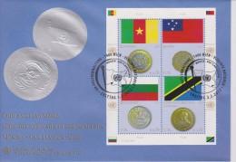 United Nations FDC Mi 738-741 Flags And Coins - Cameroon - Samoa - Bulgaria - Tanzania - 2012 - FDC