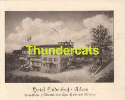 PUBLICITE CARTE DE VISITE HOTEL LINDENHOF ARBON - Cartes De Visite