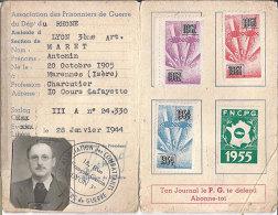 Carte Association Des Prisonniers De Guerre Du Rhone Et Ses 14  De 1952 à 1965 Vignettes Dos Scanné Franco Port Europe - Erinnophilie
