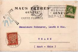 SUISSE TIMBRE PERFORE SUR CARTE TAXEE EN FRANCE 1922 - Poststempel