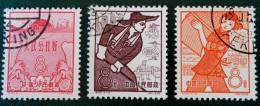 ANNIVERSAIRE DE L'ETABLISSEMENT DES COMMUNES POPULAIRES 1959 - OBLITERES - YT 1212/14 - MI 454/56 - DENTELES 11 1/2 - 1949 - ... People's Republic