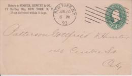 E7 United States USA Etat-Unis Stetionary Ganzsache Entier Sc. U 312 Local Used In New York - ...-1900