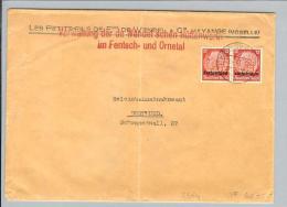 """DR Deutsche Besetzung Lothringen 1941-04-09 Brief 2x12Pf. Perfin """"W.H."""" - Besetzungen 1938-45"""