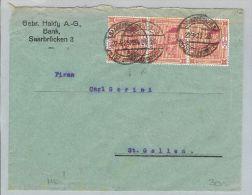 DE Saargebiet 1923-04-22 Brief Nach St.Gallen CH 3er Str. - 1920-35 Société Des Nations