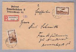 DE Saarland 1933-05-16 Saarbrücken R-Brief Mt Mi#159+108 Attest Ney - 1920-35 Société Des Nations