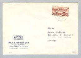 DE Saarland 1951-08-12 Brief EF Mi#285 Nach Adliswil CH - 1947-56 Occupation Alliée
