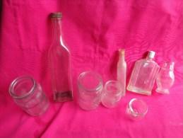 Lot De  Flacons Anciens (verre)et  Autres Au Vert Pre Moutarde-eau De Melisse Des Carmes-ventouse-andiose-flacon Parfum - Parfums & Beauté