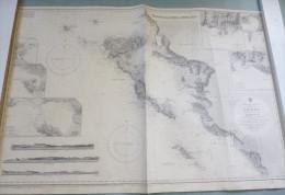 "Carte Marine : ""CHANNELS OF CORFU"" / CORFOU + Côte Albanaise. 1863 / 1957. - Cartes Marines"