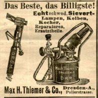 Original-Werbung/Anzeige 1905 - SIEVERT - LAMPEN / MAX H. THIEMER DRESDEN - Ca. 45 X 45 Mm - Publicités