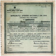 Romania, 1944, Authentic Vintage Military, Army Loan, Bond Certificate - Shareholdings