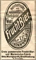 Original-Werbung/Anzeige 1908 - FRUCHT-BIER / OTTO MARQUARDT - GREIFENBERG IN POMMERN - Ca. 45 X 80 Mm - Werbung