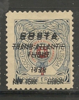 PORTUGAL - AIR MAIL - SEMI-OFFICIAL DOUBLE Ovpt COSTA TRANS-ATLANTIC Flight 1936 NEW YORK-LISBON - Sanabria # 301b - Neufs