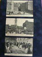 LOT De 3 CPA  De JERUSALEM : *PORTES DE DAMAS & DE JAFFA* , * MURAILLE DES LAMENTATIONS* - Postales