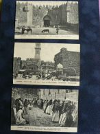 LOT De 3 CPA  De JERUSALEM : *PORTES DE DAMAS & DE JAFFA* , * MURAILLE DES LAMENTATIONS* - Postkaarten