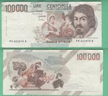 100000 100.000 Lire Caravaggio I° Tipo Serie A - [ 2] 1946-… : Républic