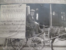 Carte Photo Pub Macon Limonade Montbarbon Mauvaise état Mais Rarissime Attelage D´âne Devant Le Grand Café Français - Macon