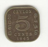 5 Cents Ceylan / Ceylon 1945 - George VI - Kolonies