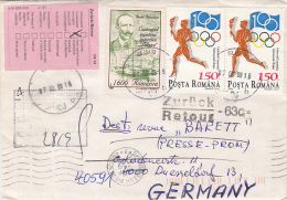 25594- EMIL RACOVITA, BELGICA EXPEDITION, OLYMPIC FLAME, MARTEN, STAMPS ON COVER, 1998, ROMANIA - 1948-.... Républiques