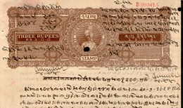 India Fiscal Rajpipla State 3 Rs. King Vijaysinhji Portrait Type 20 KM 209 Stamp Paper # 10742R Court Fee Revenue - Rajpeepla