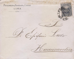 G)1887 PERU, COAT OF ARMS 10 CTS., CIRCULATED COMMERCIAL COVER TO HUANCAVELICA, INTERNAL USAGE, XF - Peru