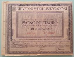 BUONO DEL TESORO NOVENNALE - 4% - 1951 - A PREMI _ DI LIRE 500  /  Dicembre 1942 - Shareholdings