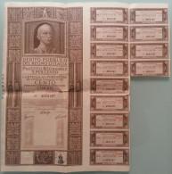 DEBITO PUBBLICO DEL REGNO D´ITALIA - 1937 /  Cartella Al Portatore Da Lire 100 Con Cedole - Shareholdings