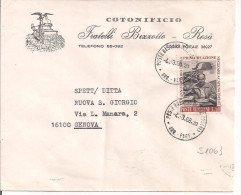 BIZZOTTO,COTONIFICIO, ROSA,BUSTA COMMERCIALE VIAGGIATA 1968,AL VERSO MAPPA, POSTE BASSANO DEL GRAPPA,FERMI 50, - Documentos Históricos