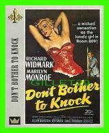 AFFICHES DE FILM - DON'T BOTHER TO KNOCK AVEC RICHARD WIDMARK & MARILYN MONROE EN 1952 -