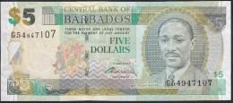 Barbados 5 Dollar 2007 P67b UNC - Barbados (Barbuda)