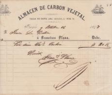 E4553 CUBA SPAIN ESPAÑA INVOICE1867. ALMACEN DE CARBON VEGETAL. SHIP.