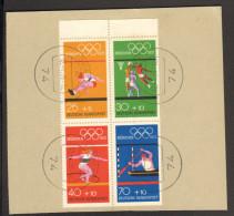 BRD 1972 Olympiamarken Gestempelter Viererblock Aus Markenheftchen Nr.17 Auf Briefstück - Carnets