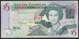 East Carribean 5 Dollar 2008 P47 UNC - Caribes Orientales